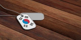 South Korea army concept, South Korea flag identification tags on wooden background. 3d illustration. South Korea army concept, South Korea flag identification Stock Image