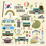 South Korea attractions. Lovely South Korea attractions collection in flat style stock illustration