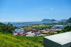 View of Busan Naval Base in Busan, South Korea. stock photos