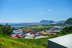Aerial view of Busan Naval Base in Busan, South Korea. stock images
