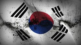South Korea grunge dirty flag waving on wind. South Korea background fullscreen grease flag blowing on wind. Realistic filth fabric texture on windy day Stock Images