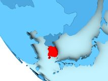 South Korea on blue political globe Royalty Free Stock Images