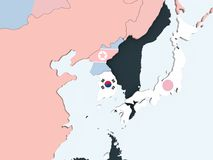 South Korea with flag on globe. South Korea on bright political globe with embedded flag. 3D illustration vector illustration