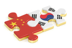 South Korea and China puzzles from flags, 3D rendering Royalty Free Stock Photography
