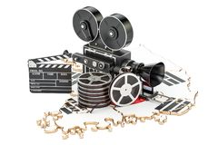 South Korea cinematography, film industry concept. 3D rendering. Isolated on white background Royalty Free Stock Image