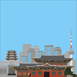 South Korea country design flat cartoon elements. Travel landmark, Seoul tourism place. World vacation travel city sightseeing Asi Stock Photos