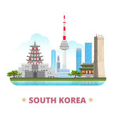 South Korea country design template Flat cartoon s