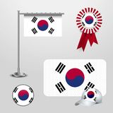 South Korea Country Flag haning on pole, Ribbon Badge Banner, sports Hat and Round Button. Vector EPS10 Abstract Template background vector illustration
