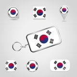 South Korea Country Flag on Keychain and map pin different style. Vector EPS10 Abstract Template background vector illustration