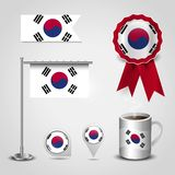 South Korea Country Flag place on Map Pin, Steel Pole and Ribbon Badge Banner. Vector EPS10 Abstract Template background stock illustration