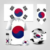 South Korea Country Flag place on T-Shirt, Lighter, Soccer Ball, Football and Sports Hat. Vector EPS10 Abstract Template background royalty free illustration