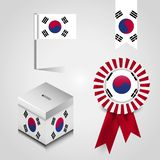 South Korea Country Flag place on Vote Box, Ribbon Badge Banner and map Pin. Vector EPS10 Abstract Template background royalty free illustration