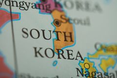South korea country on paper map. Close up view stock photos