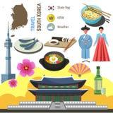 South Korea culture symbol set.  Travel Seoul direction concept. Stock Photo