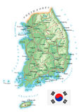 South Korea - detailed topographic map - illustration Royalty Free Stock Photography