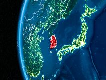 South Korea on Earth at night. Space orbit view of South Korea highlighted in red on planet Earth at night with visible country borders and city lights. 3D Royalty Free Stock Photos