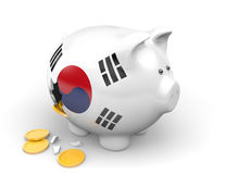 South Korea economy and finance concept for poverty and national debt. 3D render of a piggy bank representing South Korea`s economy and national debt crisis Royalty Free Stock Photos