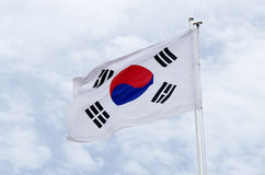 South korea flag. South korean flag on flagpost in wind royalty free stock photography
