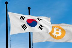 South Korea flag and Bitcoin Flag. Waving over blue sky digitally generated image royalty free stock photography