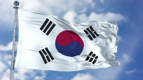 South Korea Flag in a Blue Sky royalty free stock photo