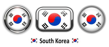 South Korea flag buttons Royalty Free Stock Image