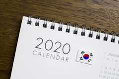 South Korea Flag on 2020 Calendar royalty free stock photo
