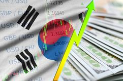 South Korea flag and chart growing US dollar position with a fan of dollar bills royalty free stock image