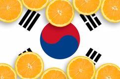 South Korea flag in citrus fruit slices horizontal frame stock images