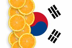 South Korea flag and citrus fruit slices vertical row stock image