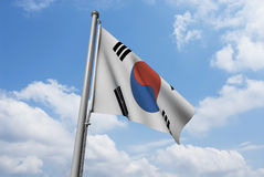 South Korea Flag with Clouds Royalty Free Stock Image