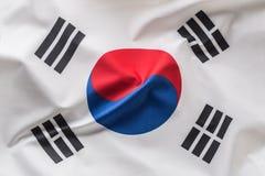 South korea flag. Colorful South Korea flag waving in the wind.  stock image