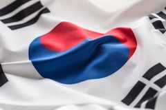 South korea flag. Colorful South Korea flag waving in the wind.  stock images