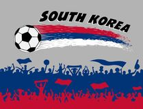 South Korea flag colors with soccer ball and Korean supporters s. Ilhouettes. All the objects, brush strokes and silhouettes are in different layers and the text Stock Image
