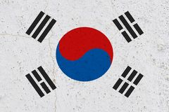 South korea flag on concrete wall royalty free stock images