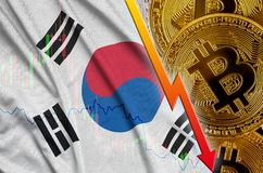 South Korea flag and cryptocurrency falling trend with many golden bitcoins. Concept of reduction Bitcoin in price or bad conversion in cryptocurrency mining royalty free stock image