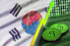 South Korea flag and cryptocurrency growing trend with two bitcoins on dollar bills and binary code display. Concept of raising Bitcoin in price and high royalty free stock photo