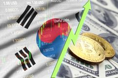 South Korea flag and cryptocurrency growing trend with two bitcoins on dollar bills vector illustration
