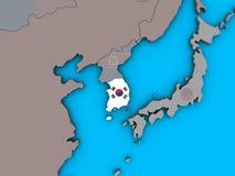 South Korea with flag on 3D map. South Korea with embedded national flag on blue political 3D globe. 3D illustration stock illustration