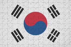 South Korea flag is depicted on a folded puzzle royalty free illustration
