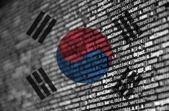South Korea flag is depicted on the screen with the program code. The concept of modern technology and site development stock illustration