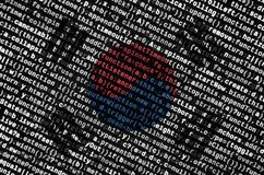 South Korea flag is depicted on the screen with the program code. The concept of modern technology and site development stock images