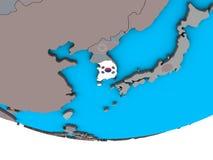 South Korea with flag on globe. South Korea with embedded national flag on simple political 3D globe. 3D illustration stock illustration