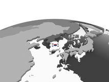 South Korea with flag on globe. South Korea on gray political globe with embedded flag. 3D illustration stock illustration