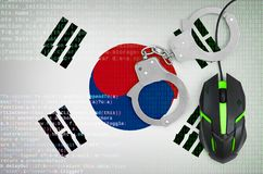 South Korea flag and handcuffed computer mouse. Combating computer crime, hackers and piracy. South Korea flag and handcuffed modern backlit computer mouse stock illustration