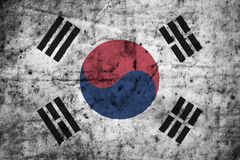 South Korea flag with high detail of old dirty crumpled paper .3D illustration . Stock Photography
