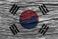South korea flag with high detail of old wooden background . 3D illustration Stock Photos