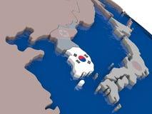 South Korea with flag Stock Image