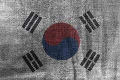 South Korea Flag On Jeans Denim Texture. Background close up stock image