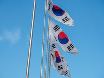 South korea Flag. The South Korean Flag with Blue Sky royalty free stock images