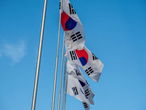 South korea Flag. The South Korean Flag with Blue Sky royalty free stock image
